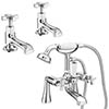 Olympia Art Deco Tap Package (Bath + Basin Taps) profile small image view 1