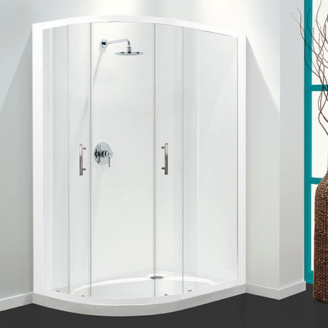 Coram Optima Offset Quadrant Shower Enclosure - White - Various Size Options