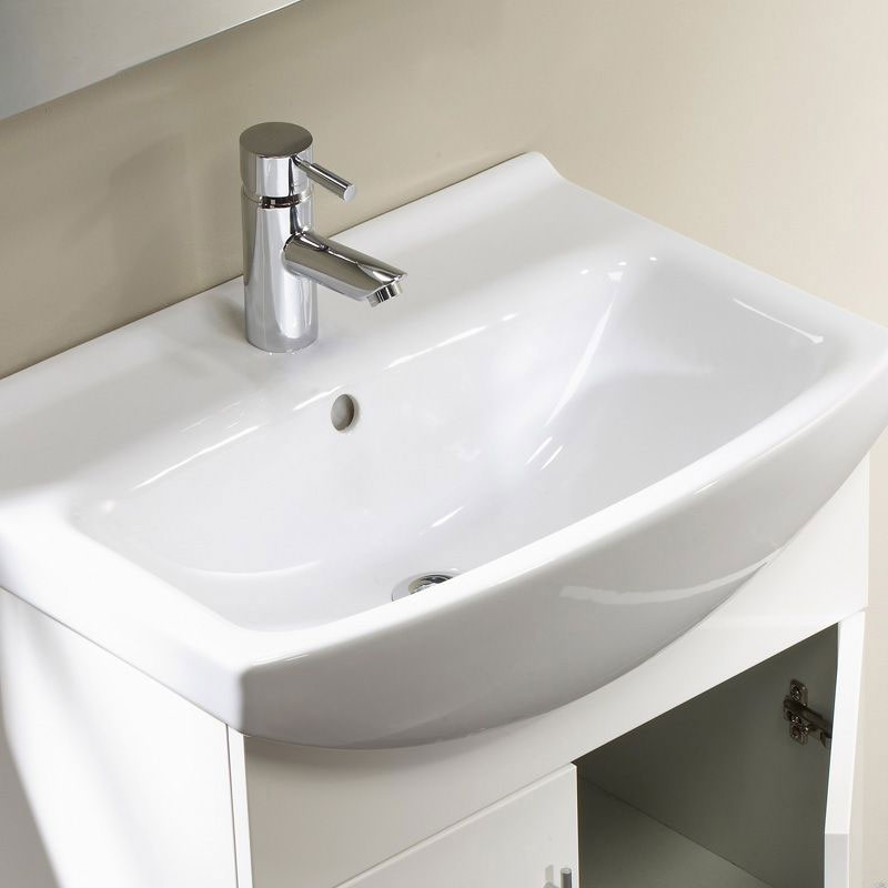 Tavistock Opal 500mm Freestanding Unit & Basin - Gloss White Profile Large Image