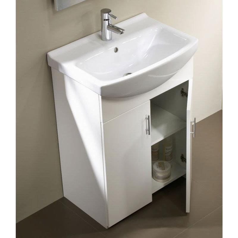 Tavistock Opal 500mm Freestanding Unit & Basin - Gloss White Feature Large Image