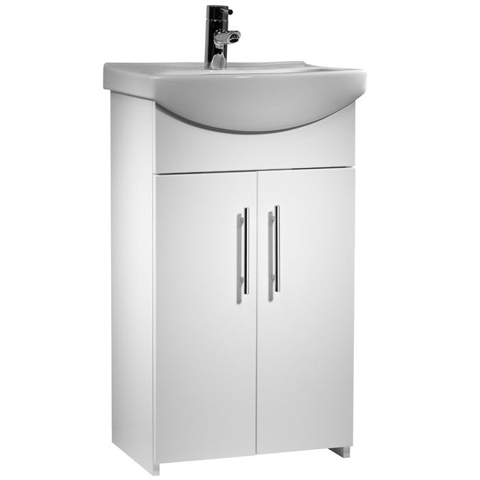 Tavistock Opal 500mm Freestanding Unit & Basin - Gloss White Large Image