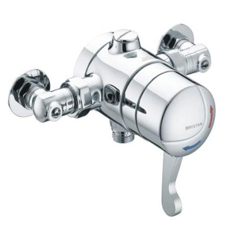 Bristan - Opac Thermostatic Exposed Shower Valve with Chrome Lever & Isolation Elbows - OP-TS1503-ISOL-C profile large image view 1