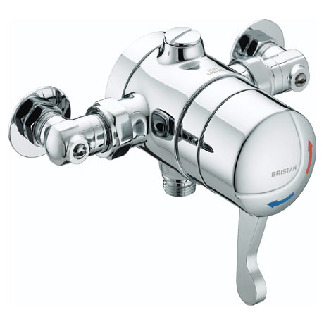 Bristan - Opac Thermostatic Exposed Shower Valve with Chrome Lever & Isolation Elbows - OP-TS1503-IS