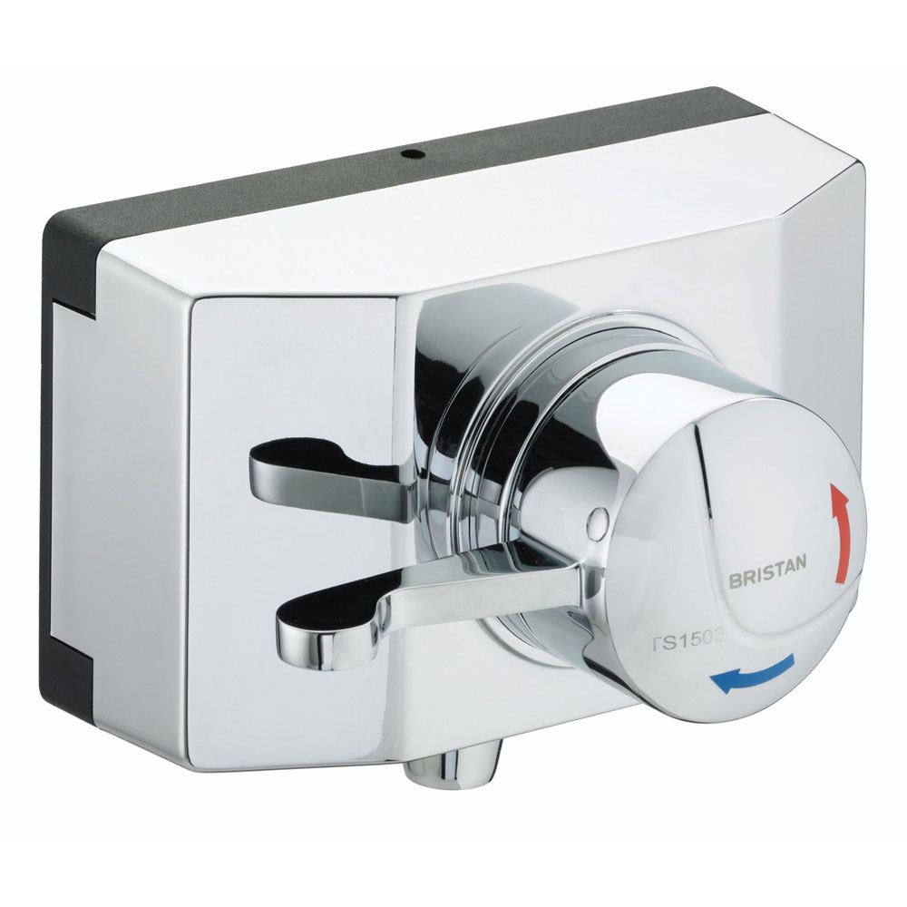 Bristan - Opac Thermostatic Exposed Shower Valve with Chrome Lever and Shroud - OP-TS1503-SCL-C Larg