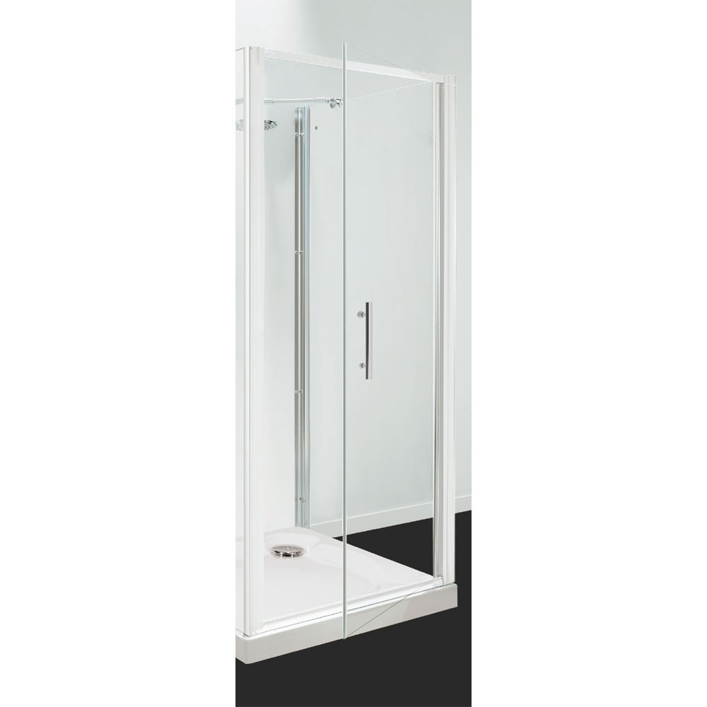 Coram - Optima Pivot Shower Door - White - Various Size Options profile large image view 1