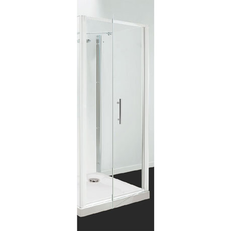 Coram - Optima Pivot Shower Door - White - Various Size Options