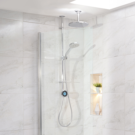 Aqualisa Optic Q Smart Shower Exposed with Adjustable and Ceiling Fixed Head