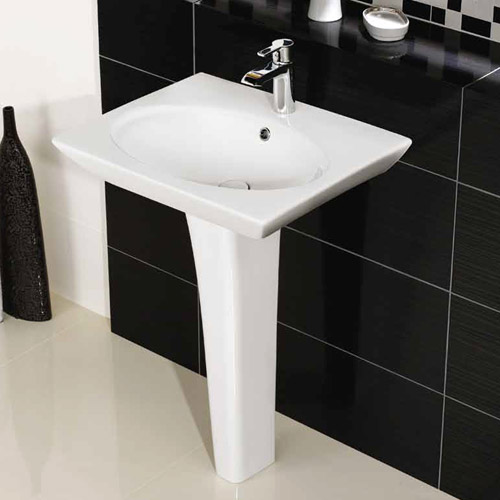Rak Opulence 58cm Her Wash Basin with Full Pedestal - 1TH - White Profile Large Image