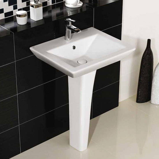 Rak Opulence 58cm His Wash Basin with Full Pedestal - 1TH - White Profile Large Image