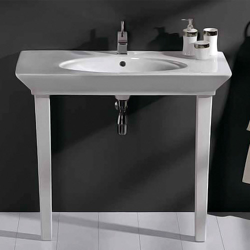 RAK - Opulence 100cm 'Her' Console Basin with Porcelain Waste & Legs - White profile large image view 1