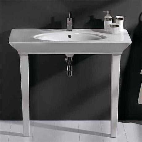 RAK - Opulence 100cm Her Console Basin with Porcelain Waste & Legs - White