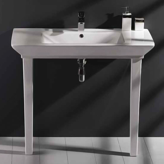 RAK - Opulence 100cm His Console Basin with Porcelain Waste & Legs - White Large Image