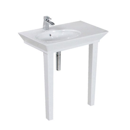 RAK Opulence 80cm His 'n' Hers Wash Basin Set with Porcelain Waste & Legs - White profile large image view 2