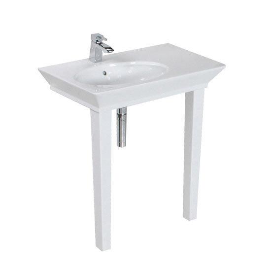 RAK Opulence 80cm His n Hers Wash Basin Set with Porcelain Waste & Legs - White Profile Large Image