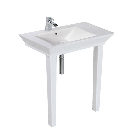 RAK Opulence 80cm His 'n' Hers Wash Basin Set with Porcelain Waste & Legs - White profile large image view 3