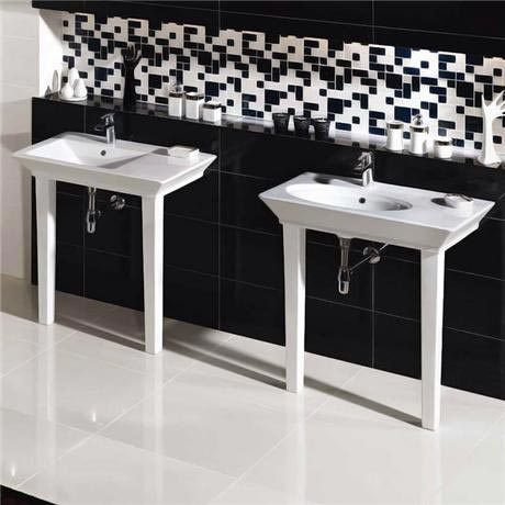 RAK Opulence 80cm His n Hers Wash Basin Set with Porcelain Waste & Legs - White