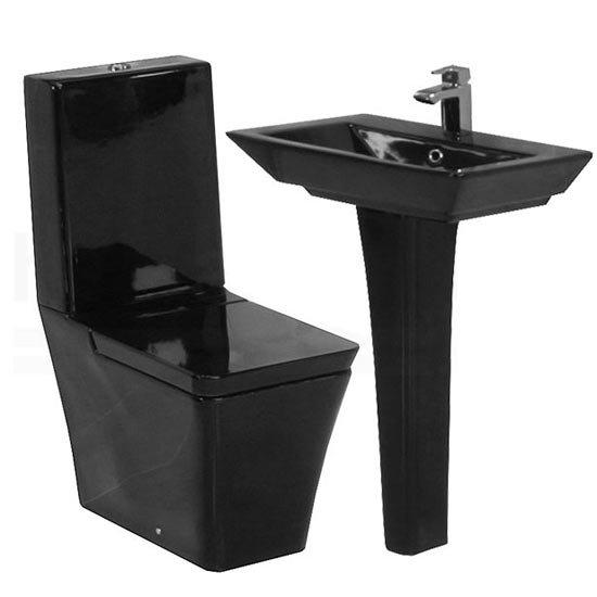 Rak Opulence 4 Piece Set Toilet Amp 58cm His Basin 1th Black At Victorian Plumbing Uk
