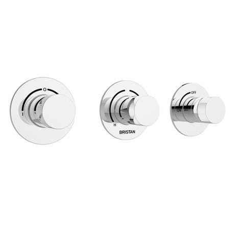 Bristan - Orb Thermostatic Recessed Three Control Shower Valve with Stopcock & Two Outlet Diverter