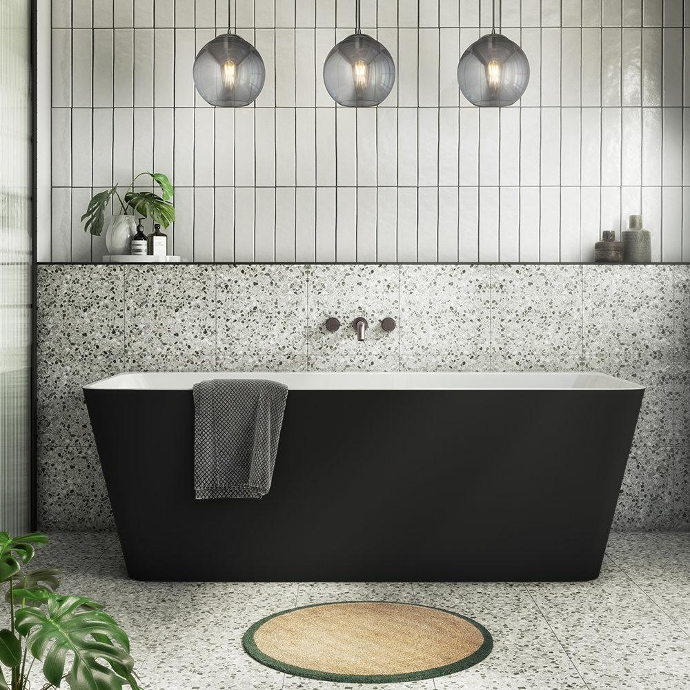 Orion Matt Black Back To Wall Modern Square Bath - DIY Bath Panel Ideas