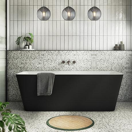 Orion Matt Black Back To Wall Modern Square Bath (1700 x 740mm)