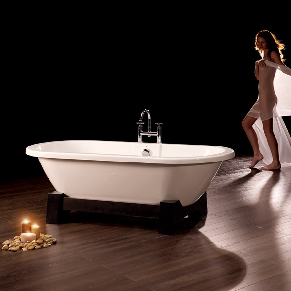 Royce Morgan Osaka 1750 Luxury Freestanding Bath with Waste - Dark Oak profile large image view 2