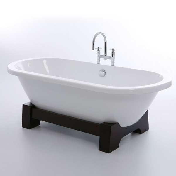 Royce Morgan Osaka 1750 Luxury Freestanding Bath with Waste - Dark Oak profile large image view 1