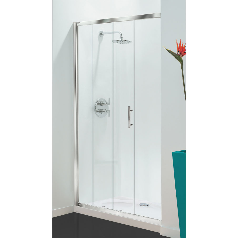 Coram - Optima Sliding Shower Door - Chrome - Various Size Options Large Image