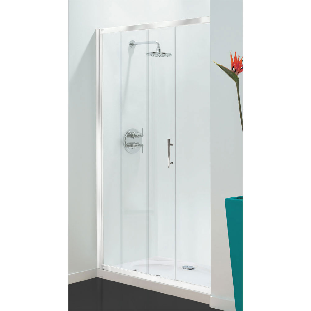 Coram - Optima Sliding Shower Door - White - Various Size Options Large Image