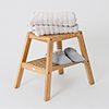 Natural Oak Slatted Bathroom Stool profile small image view 1