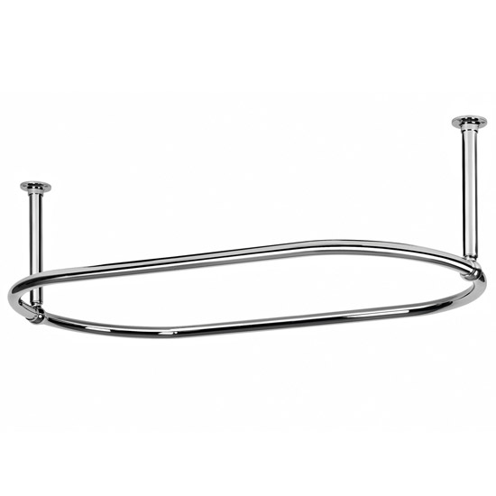Traditional Oval Shower Curtain Rail - 1500 x 700mm - Chrome - OVSR4 profile large image view 1