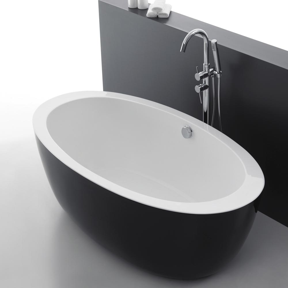 Oceania Black Modern Oval Double Ended Bath (1700 x 900mm) Large Image