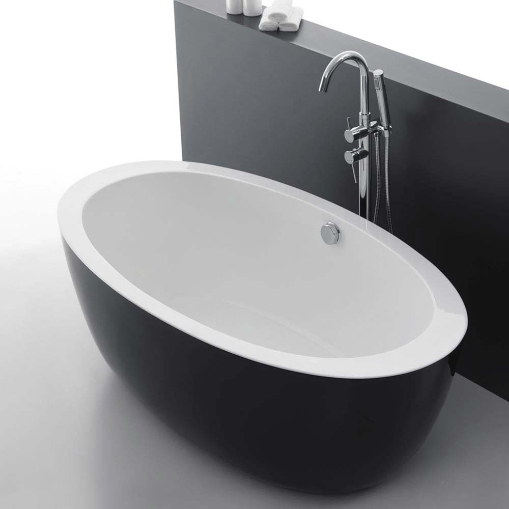 Oceania Black Modern Oval Double Ended Bath (1700 x 900mm) profile large image view 3