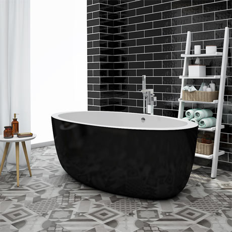 Oceania Black Modern Oval Double Ended Bath (1700 x 900mm)