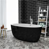 Oceania Black Modern Oval Double Ended Bath (1700 x 900mm) profile small image view 1