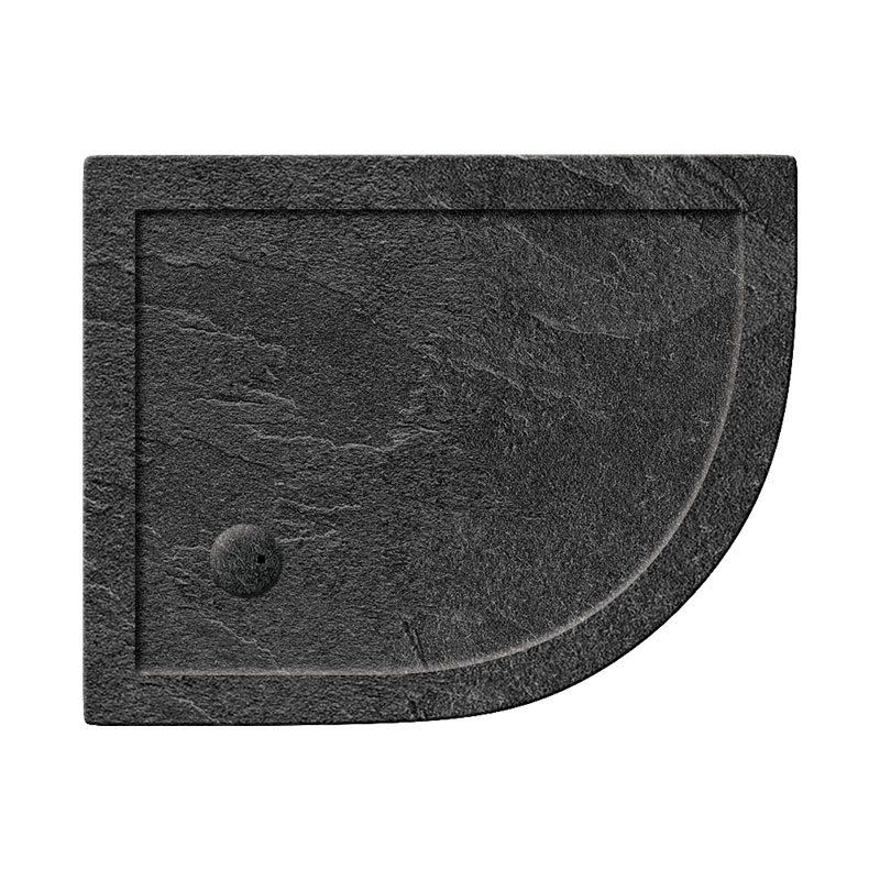 Simpsons Offset Quadrant 35mm Grey Slate Acrylic Shower Tray with Waste - Right Hand - Various Size Options Large Image