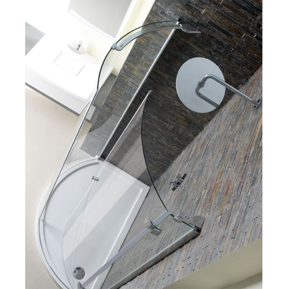 Simpsons - Offset Quadrant Low Profile Acrylic Shower Tray w/ Waste - Right Hand - 3 Size Options profile large image view 2