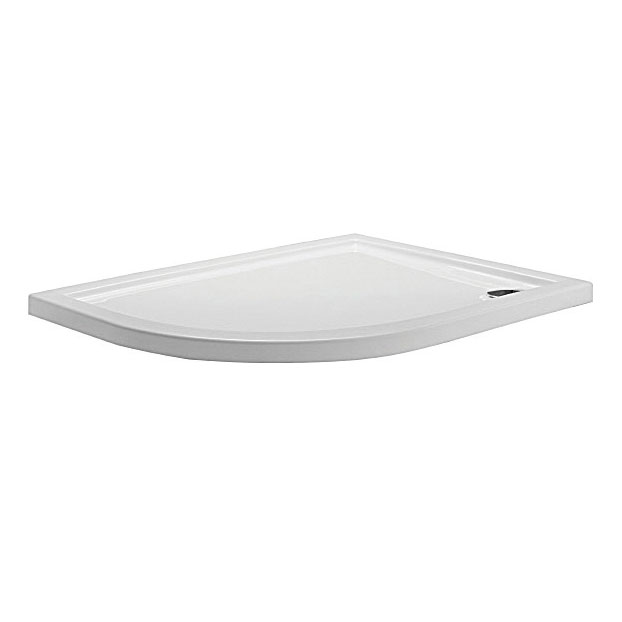 Simpsons - Offset Quadrant Low Profile Acrylic Shower Tray w/ Waste - Left Hand - 3 Size Options Large Image