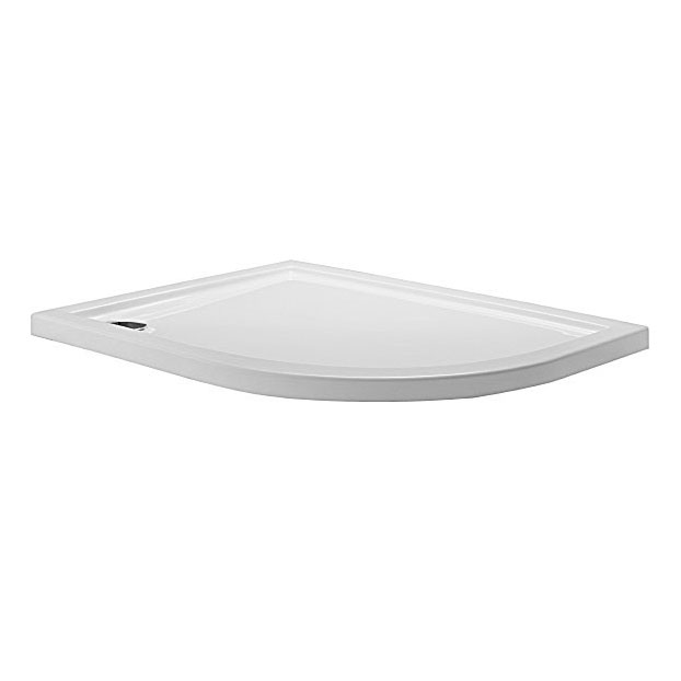 Simpsons - Offset Quadrant Low Profile Acrylic Shower Tray w/ Waste - Right Hand - 3 Size Options Large Image