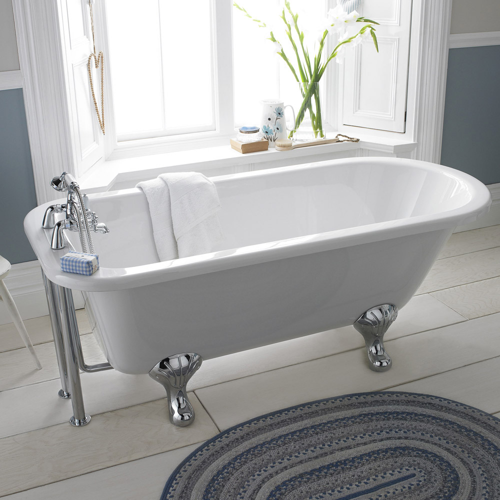 Old London - Barnsbury 1690 x 750 Single Ended Freestanding Bath with Chrome Leg Set Feature Large Image