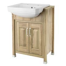Old London - 600 Traditional Semi Recess Basin & Cabinet - Natural Walnut Medium Image