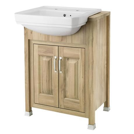 Old London - 600 Traditional Semi Recess Basin & Cabinet - Natural Walnut