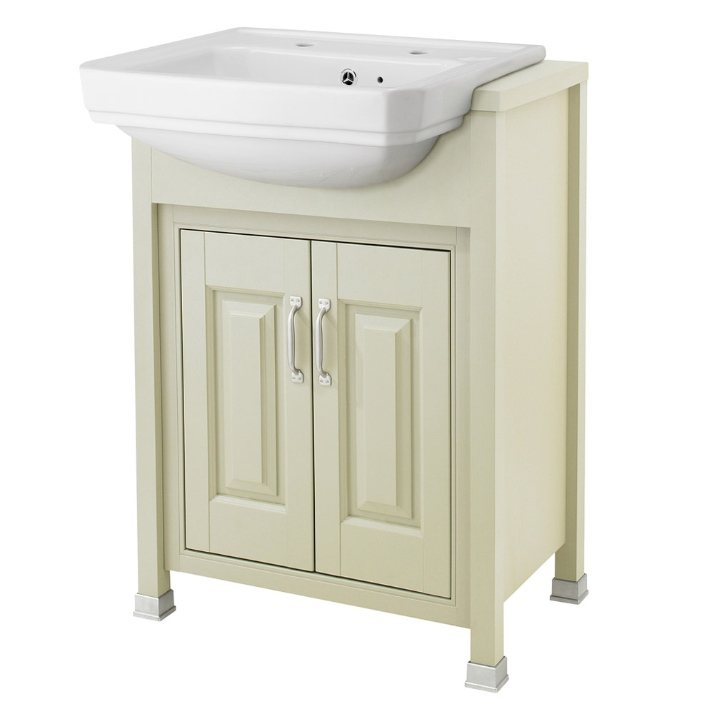 Old London - 600 Traditional Semi Recess Basin & Cabinet - Pistachio Large Image