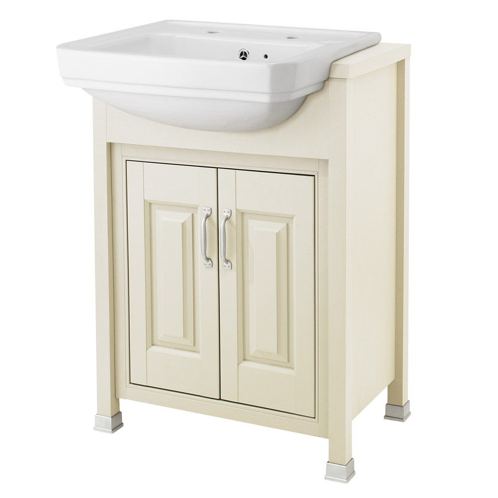 Old London - 600 Traditional Semi Recess Basin & Cabinet - Ivory Large Image