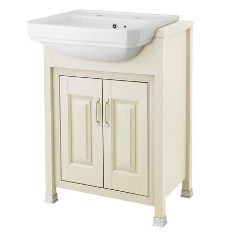 Old London - 600 Traditional Semi Recess Basin & Cabinet - Ivory