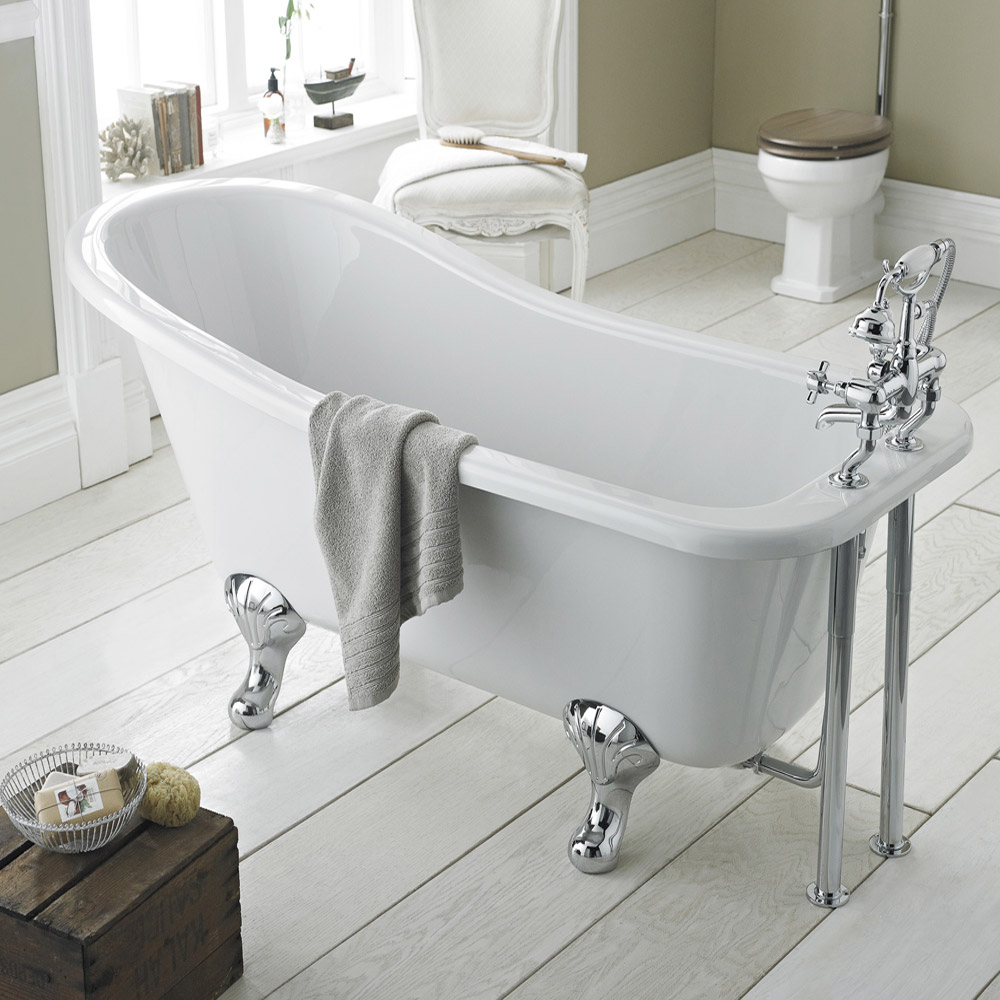 Old London - Brockley 1490 x 730 Slipper Freestanding Bath with Chrome Leg Set Feature Large Image