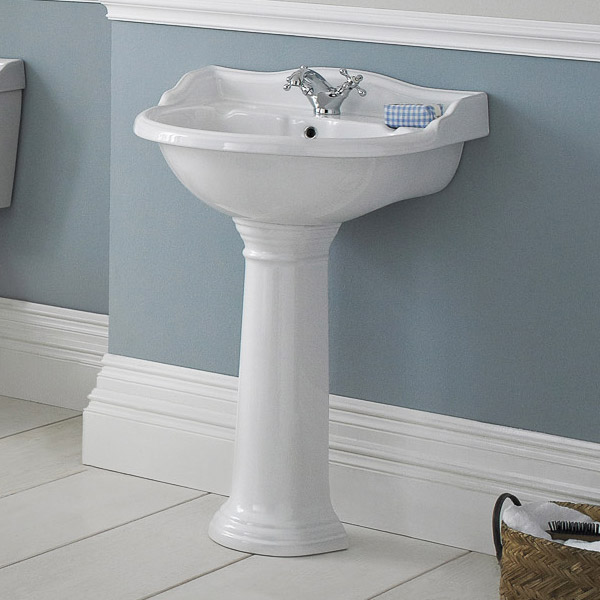 Old London - Chancery Traditional 1TH Basin & Full Pedestal - Various Size Options profile large image view 2