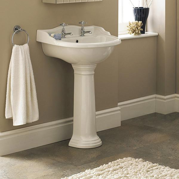 Old London - Chancery Traditional 2TH Basin & Full Pedestal - Various Size Options profile large image view 2