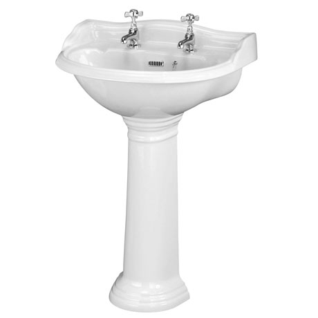 Old London Chancery Traditional 2TH Basin & Full Pedestal - Various Size Options