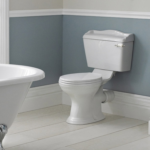 Old London - Chancery Traditional Close Coupled Toilet with Ceramic Lever Flush profile large image view 2