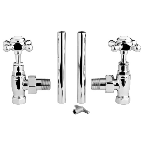 Old London - Chrome Traditional Radiator Valves (Angled) - LDR003 Profile Large Image